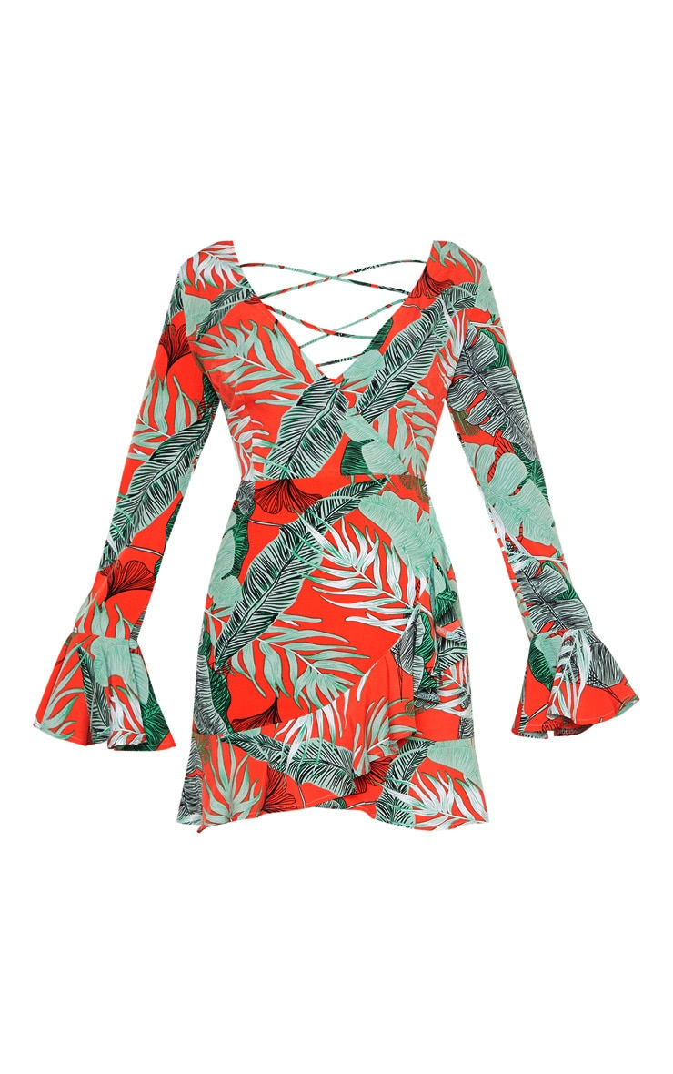 Coral Tropical Print Lace Up Back Frill Hem Bodycon Dress 3