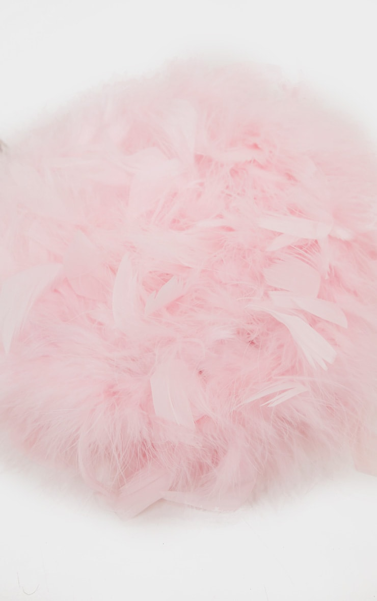 Pink Feather Boa Circle Handed Bag 3