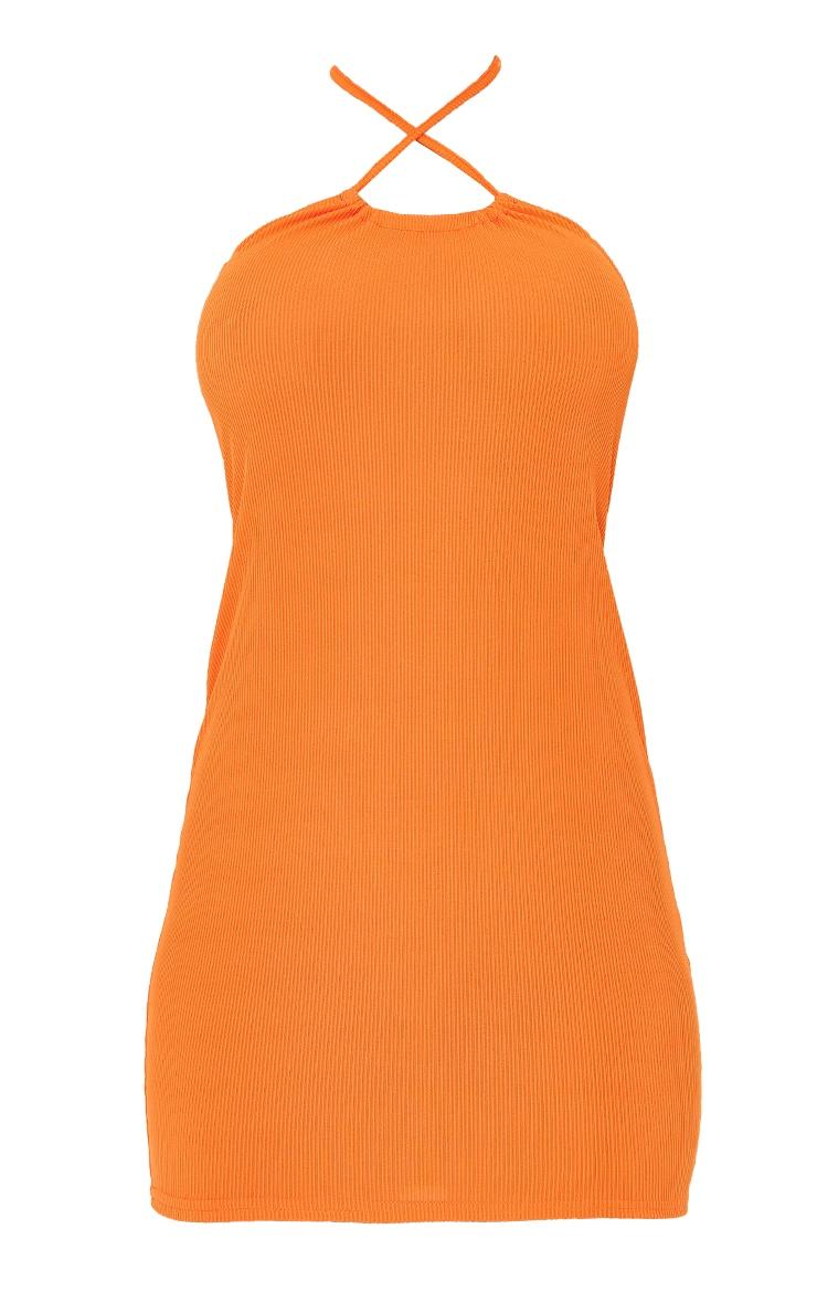 Orange Cross Over Halterneck Jersey Bodycon Dress 5