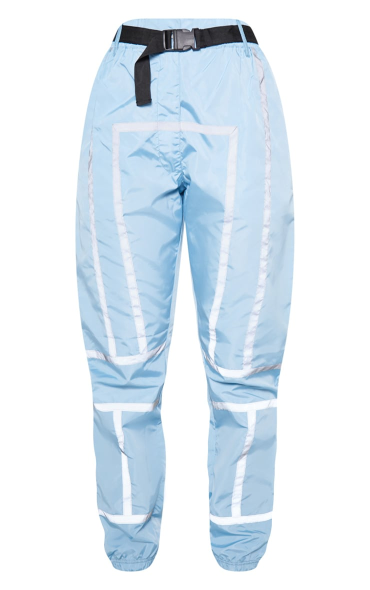 Dusty Blue Shell Reflective Tape Belt Detail Jogger 3