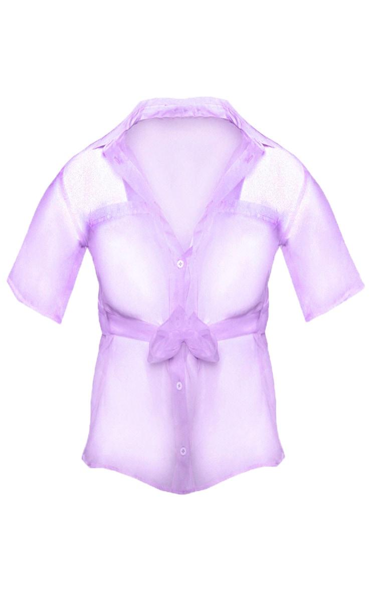 Lilac Sheer Short Sleeve Tie Detail Shirt 3
