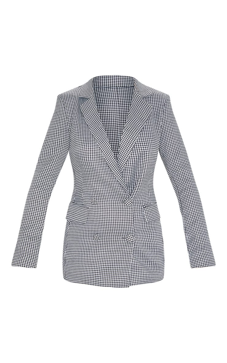 Dogtooth Pocket Front Double Breasted Blazer 3