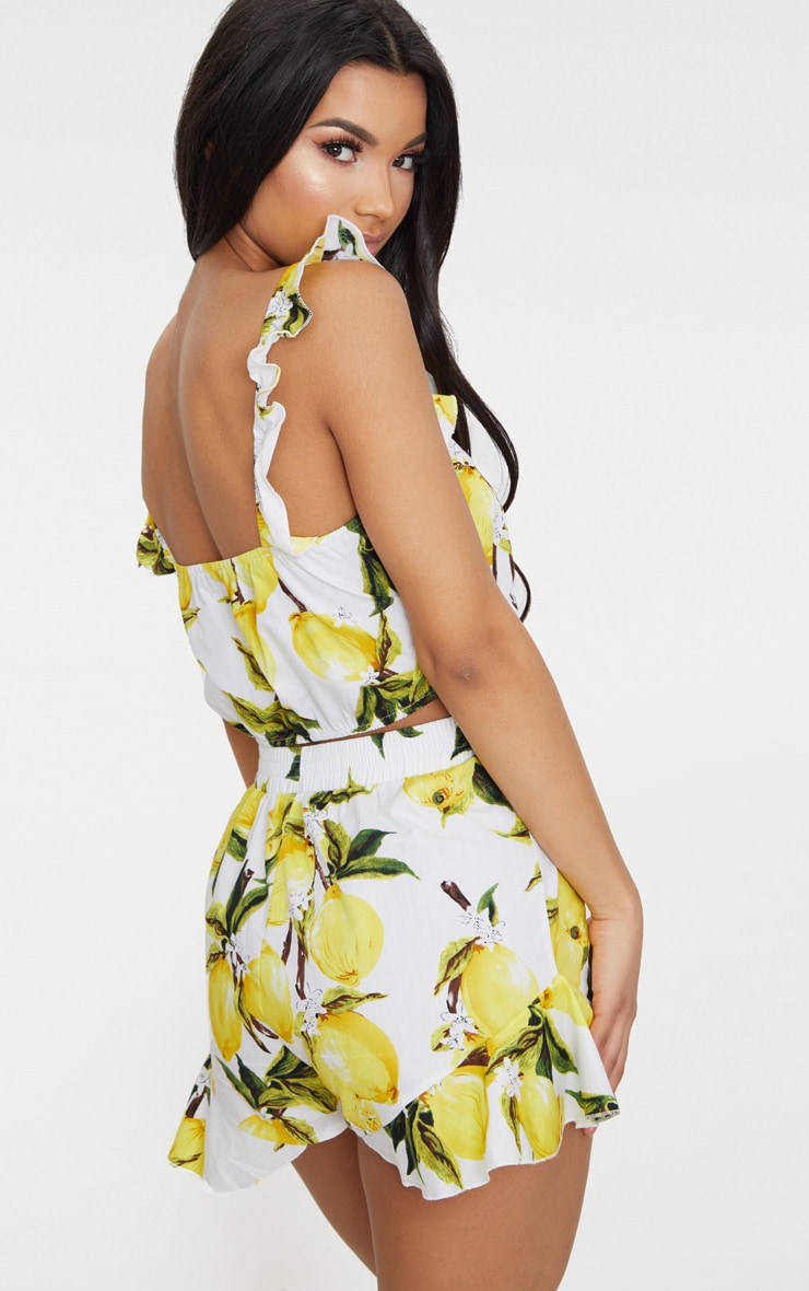Cream Lemon Print Ruffle Strap Crop Top 2