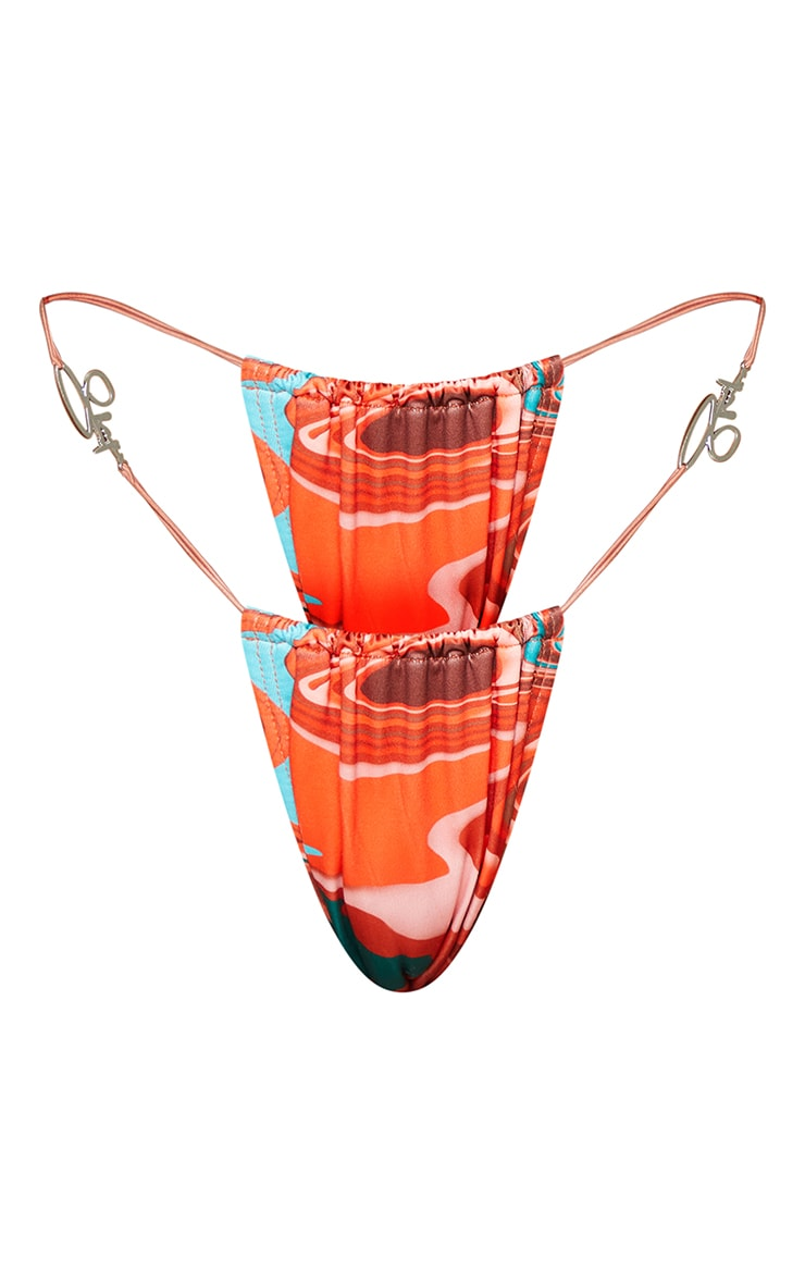 Shape Brown Marble Print Branded Trim Bikini Bottoms 5
