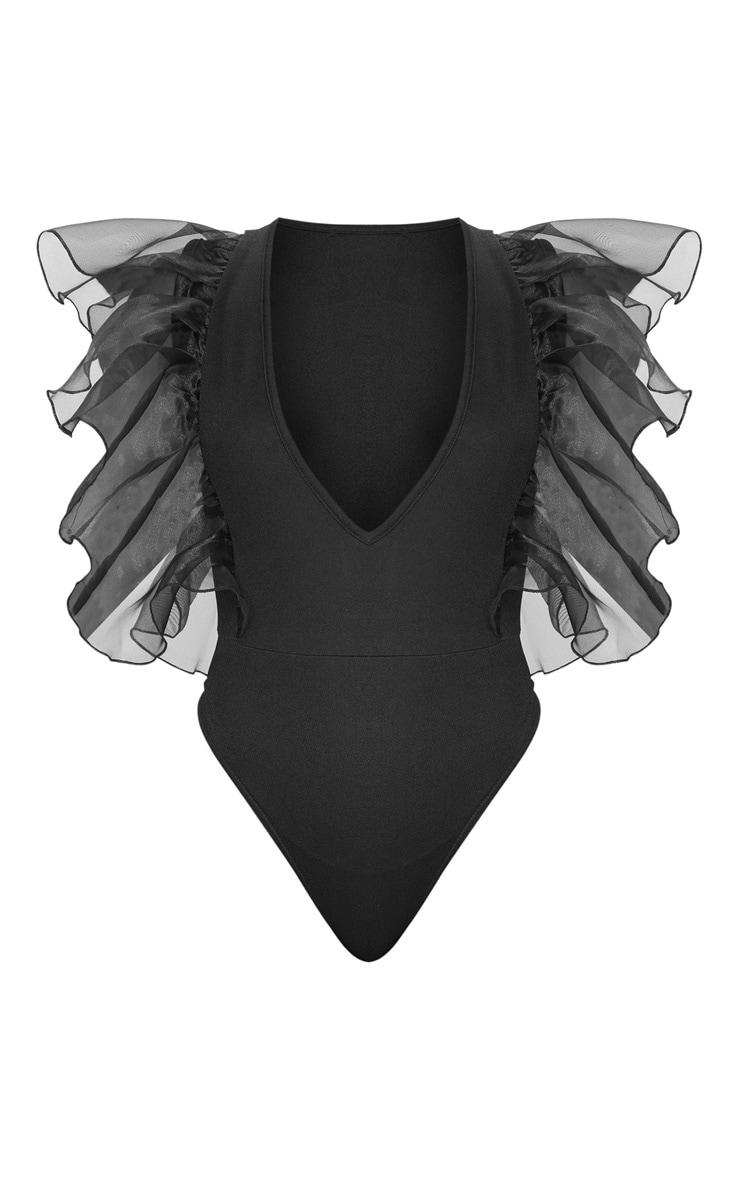 Black Organza Sleeve Plunge Bodysuit 3
