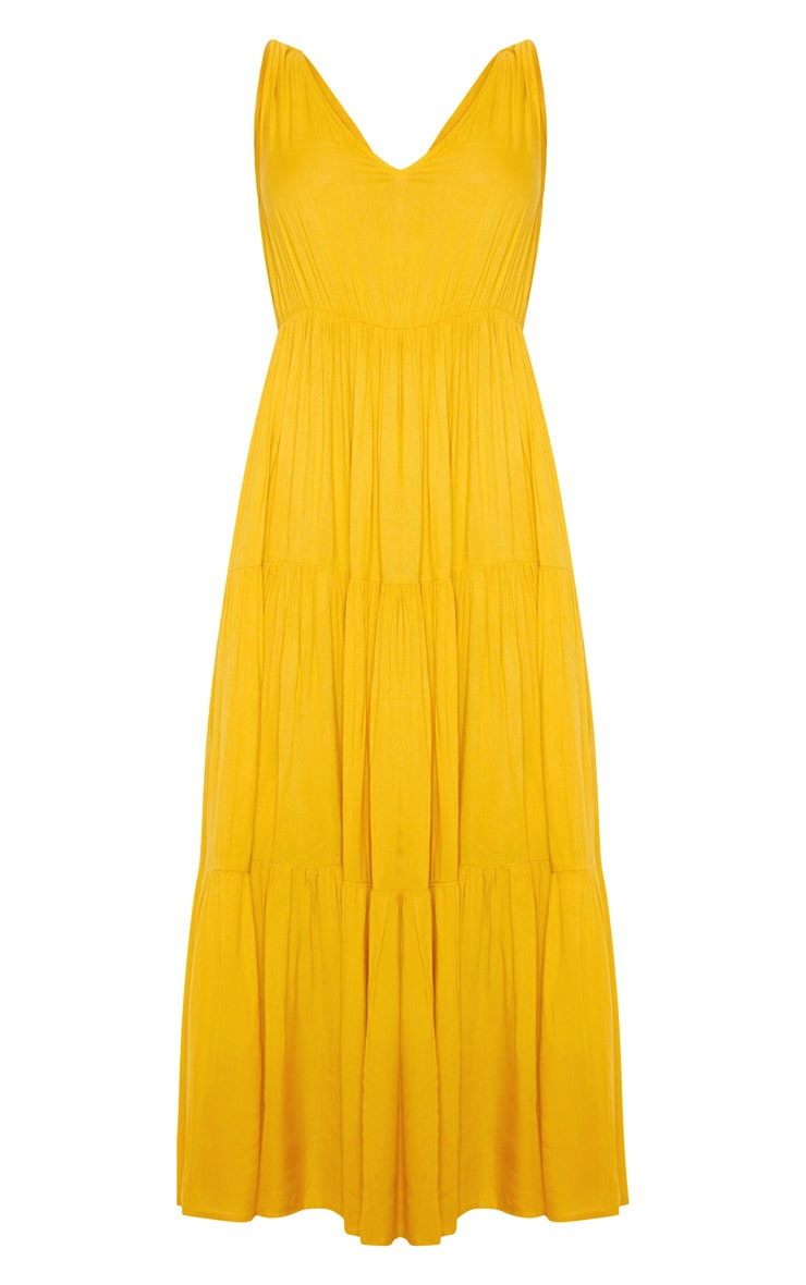 Mustard V Neck Tiered Midaxi Dress 3
