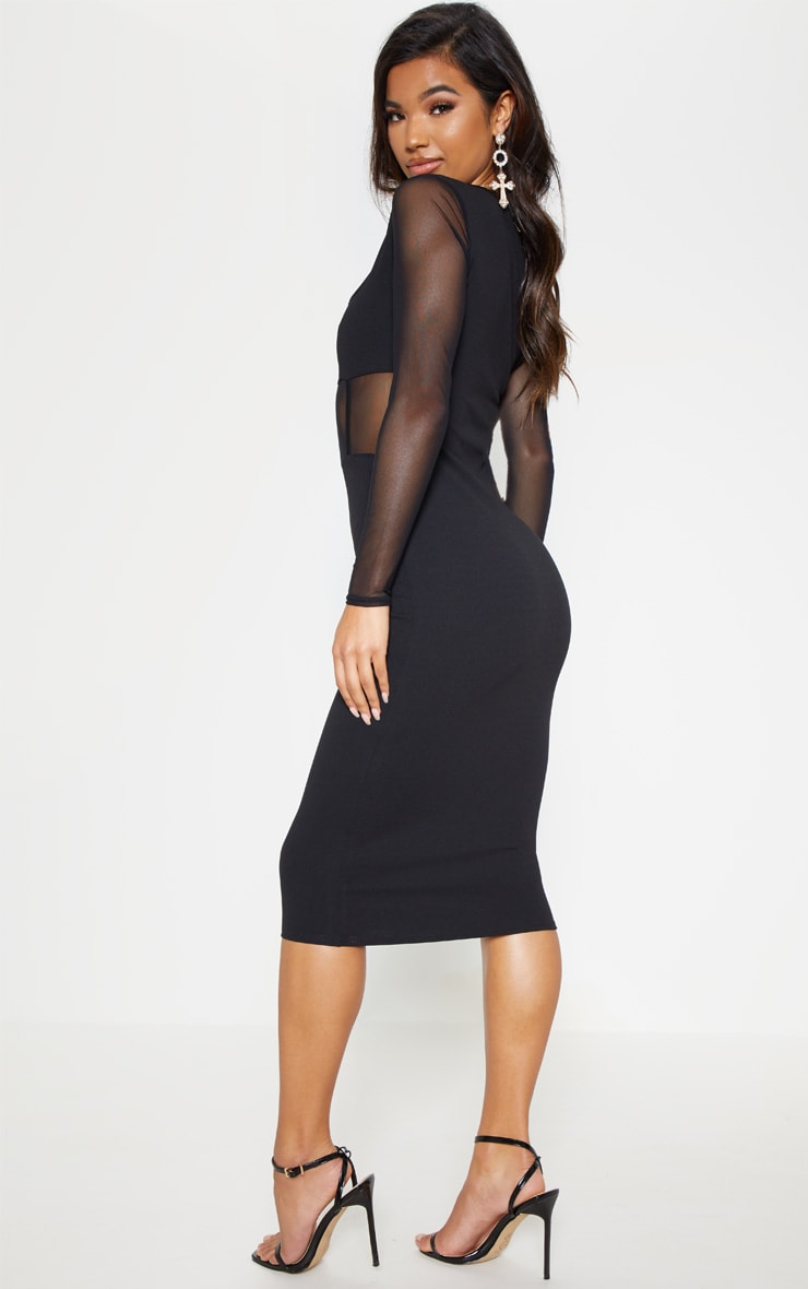 Black Mesh Panel Long Sleeve Midi Dress 3