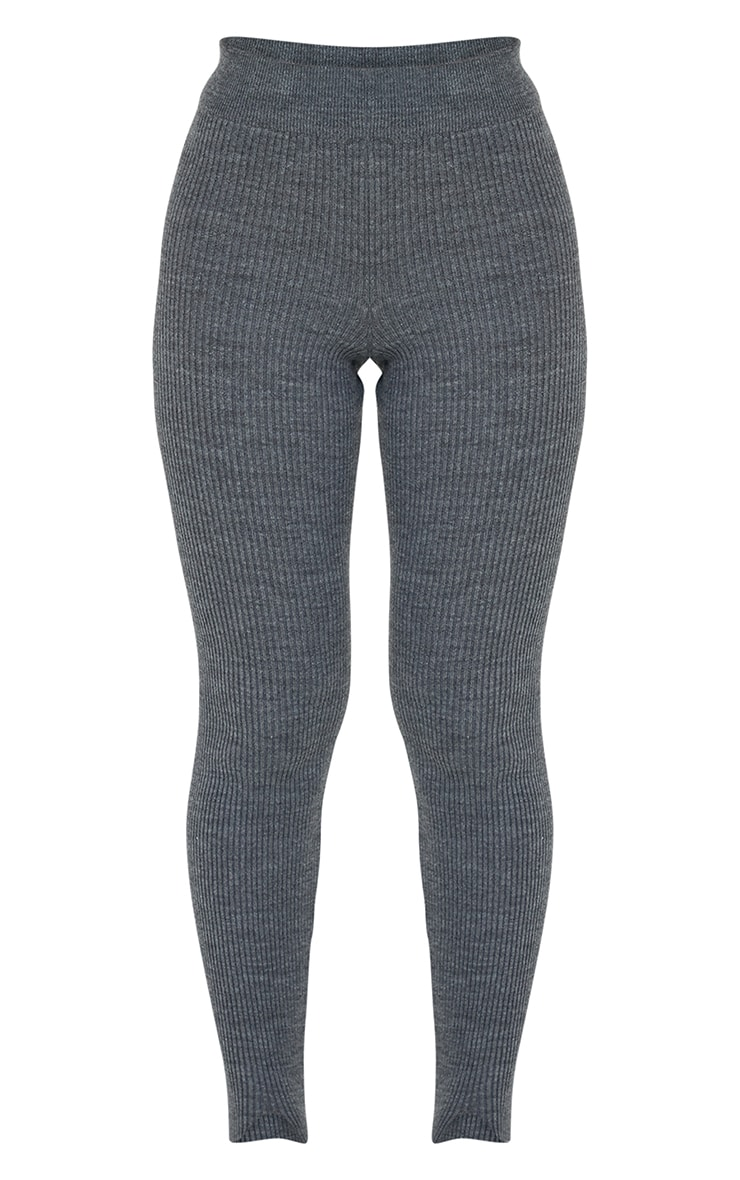 Charcoal Stirrup Ribbed Knitted Legging 5