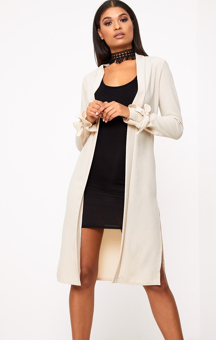 Stone Tie Sleeve Duster Coat 1