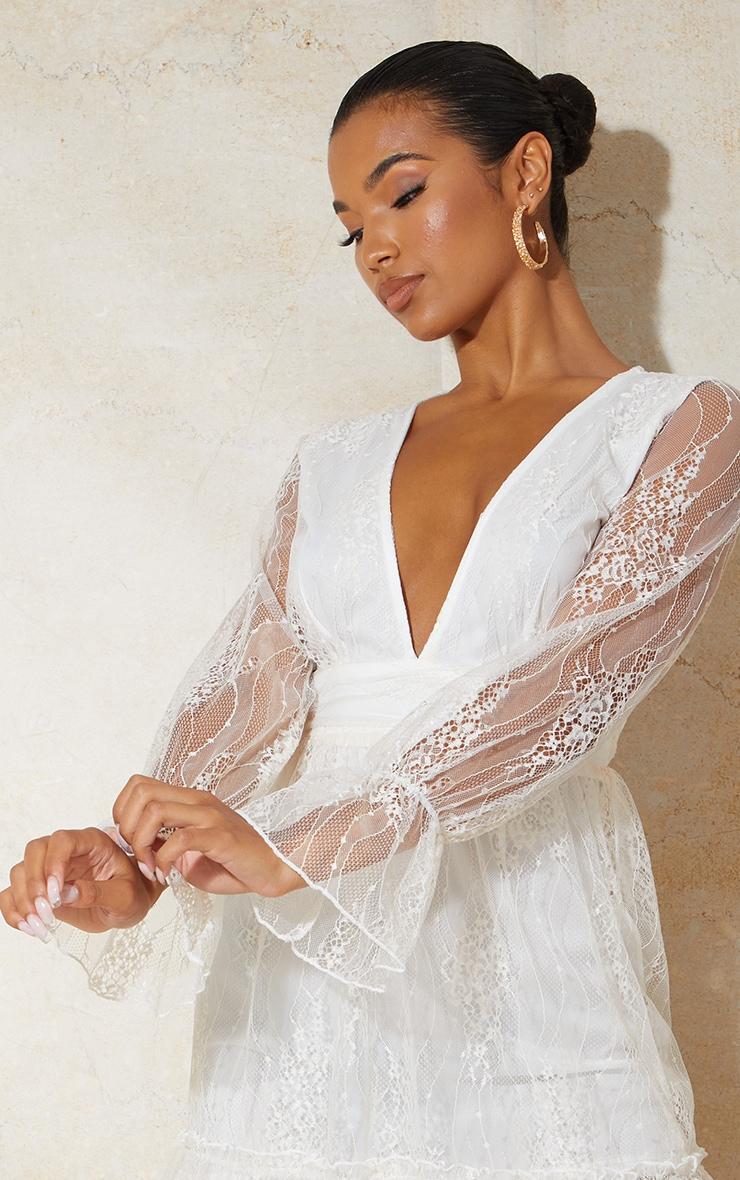 White Embroidered Chiffon Plunge Long Sleeve Shift Dress 4