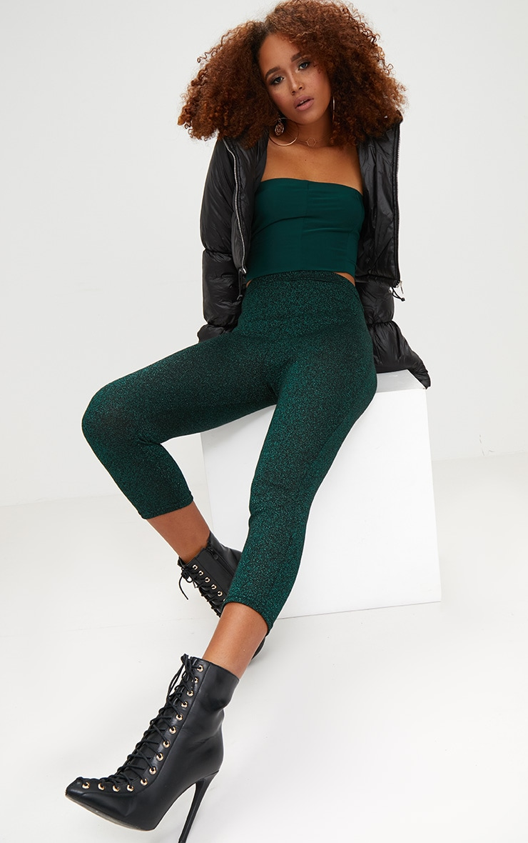 Emerald Green Metallic Cropped Leggings 1