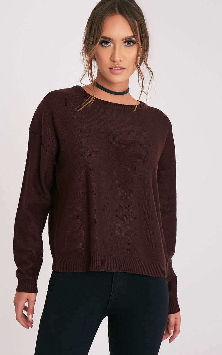 Alissa Berry Lace Up Back Knitted Jumper 4