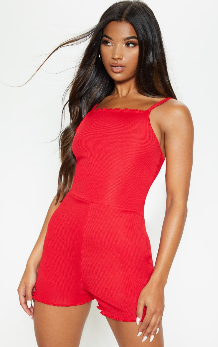 Red Strappy Frill Hem Romper 1