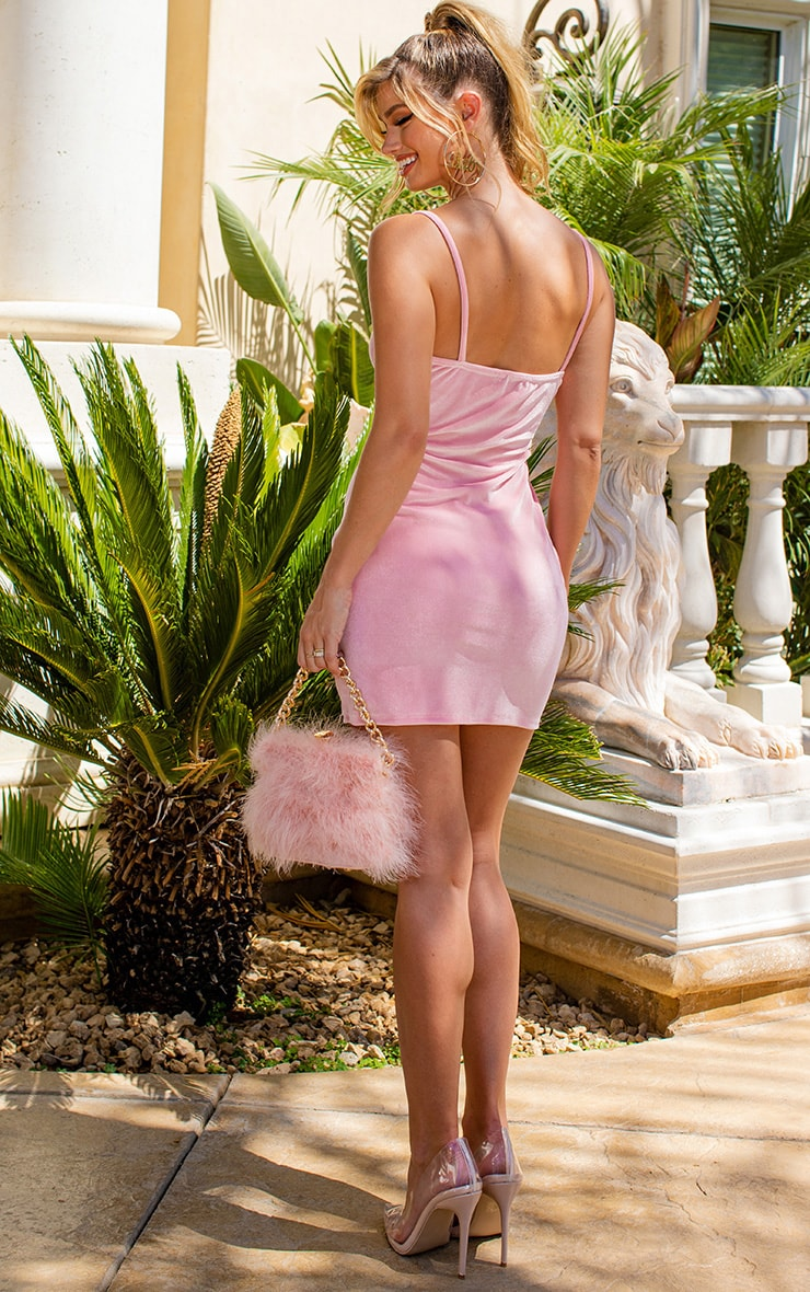 Baby Pink Strappy Velvet Bodycon Dress 2