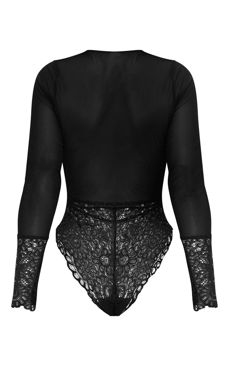 Black Long Sleeved Cuff Lace Body 3