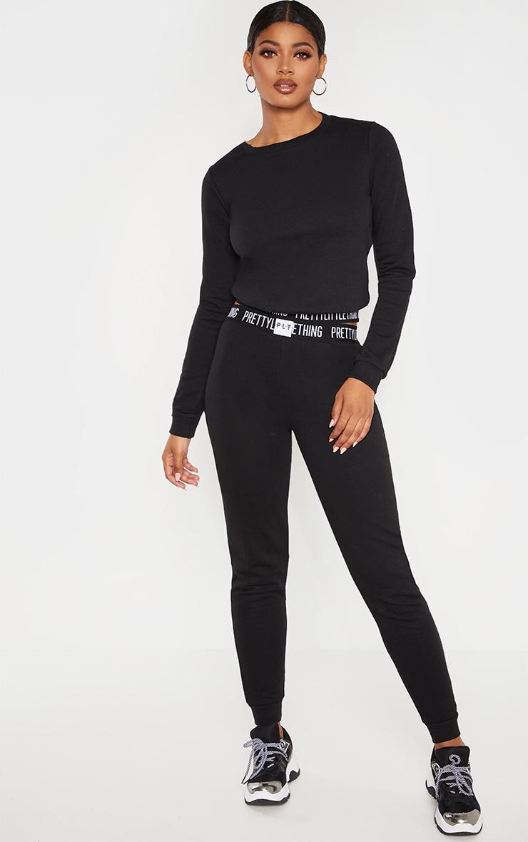 PRETTYLITTLETHING - Tall - Jogging noir à logo 1