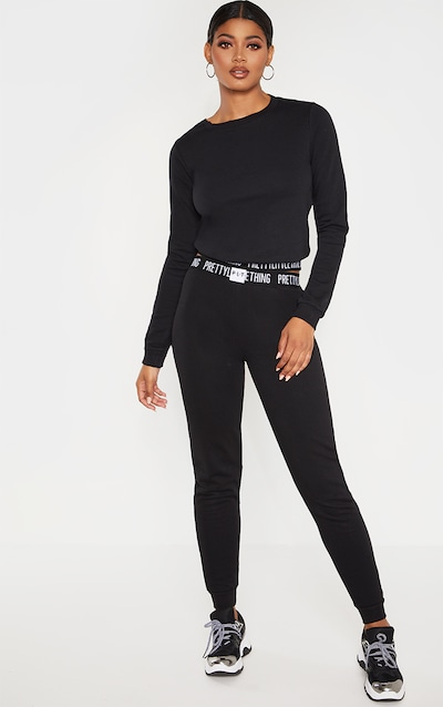 afbaaeccb676 PRETTYLITTLETHING Tall Black Lounge Joggers PrettyLittleThing Sticker