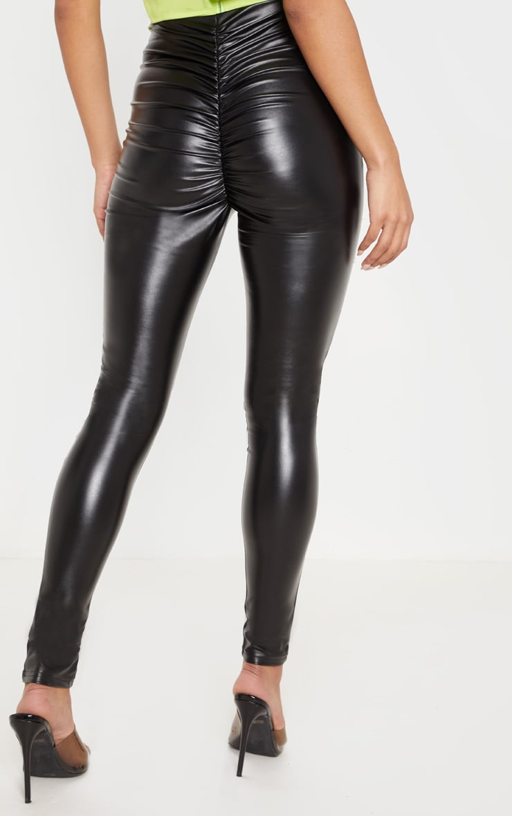 Black Faux Leather Ruched Bum Legging 4