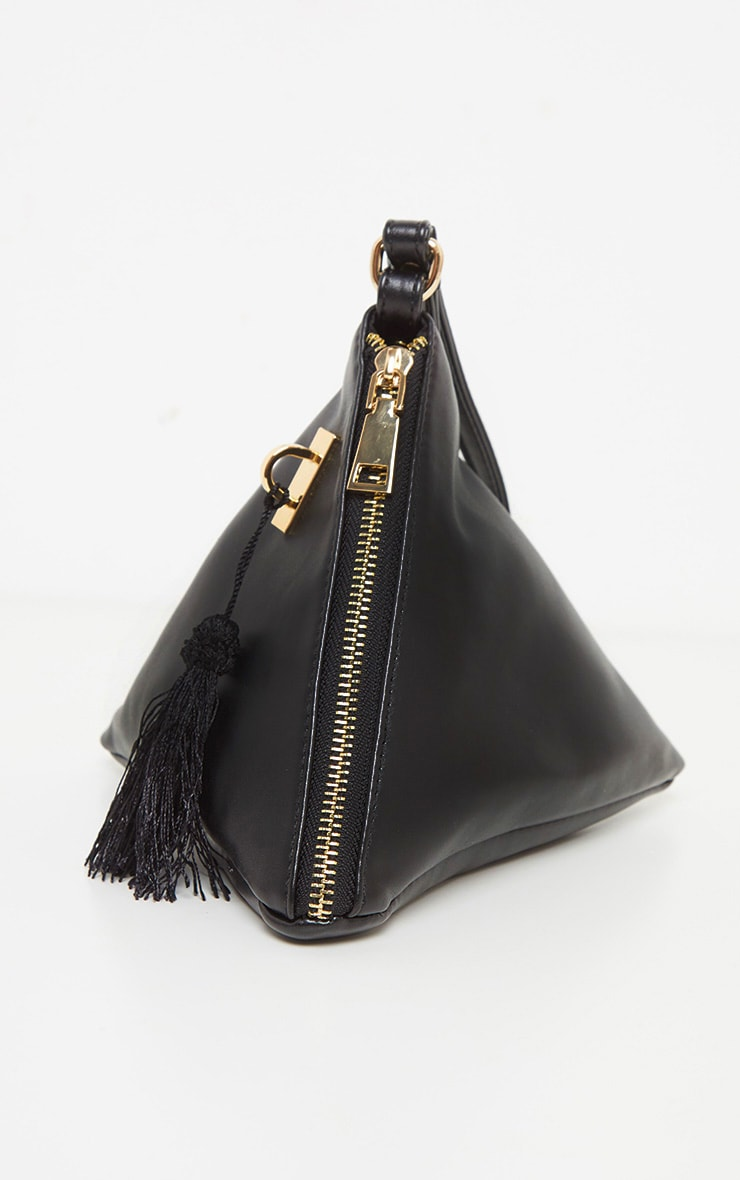 Black PU Triangle Mini Bag 3