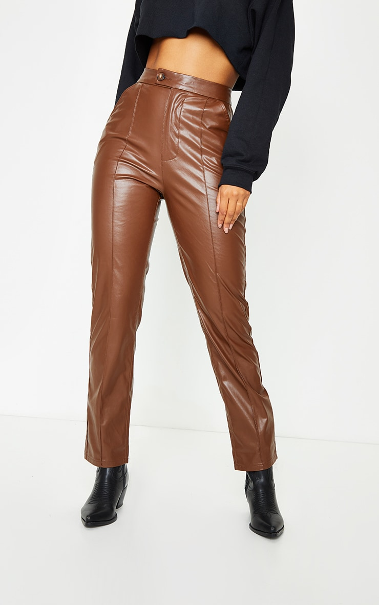 Chocolate Faux Leather Pintuck Detail Straight Leg Trousers 2