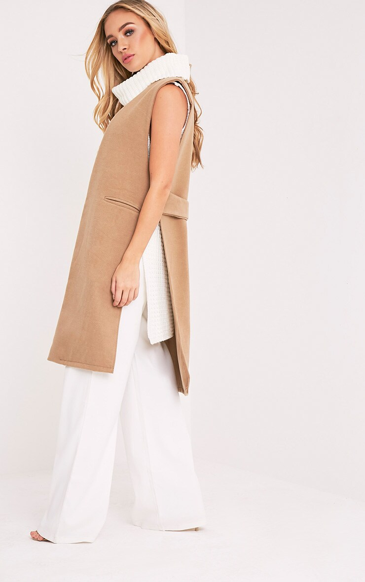 Finni Camel Sleeveless Longline Jacket 1