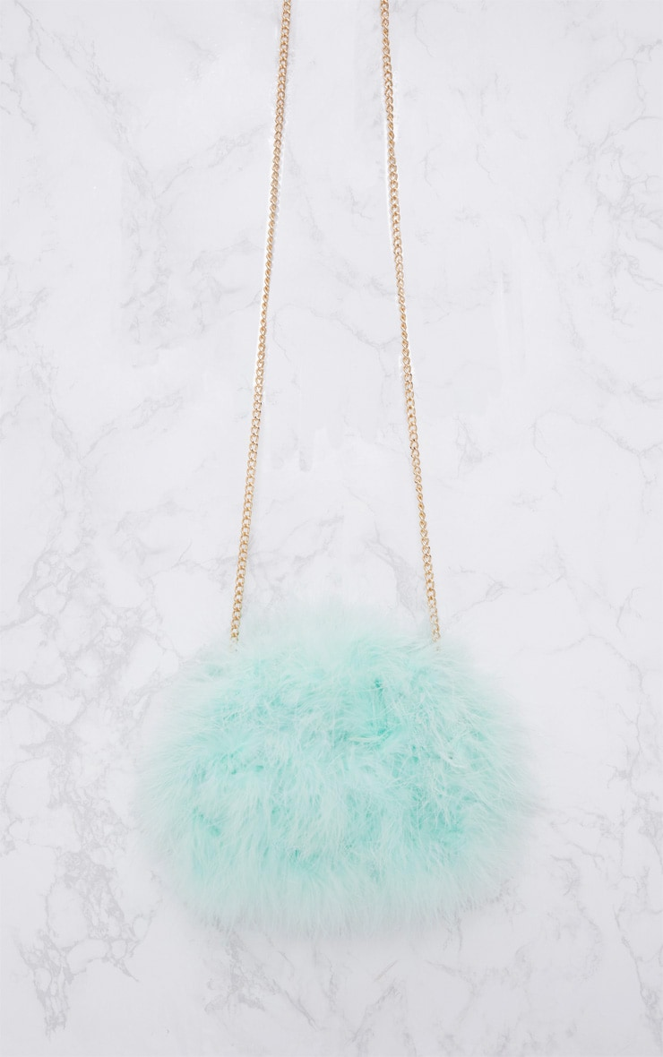 Mint Marabou Feather Clutch Bag 3