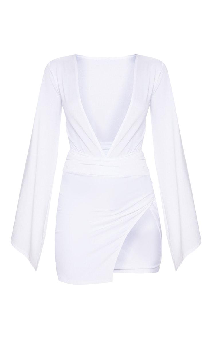 White Drape Sleeve Plunge Extreme Split Leg Bodycon Dress 3