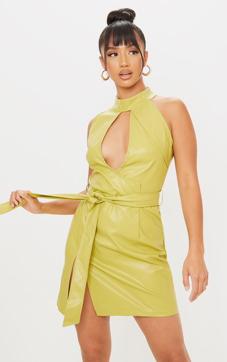 Petite Green High Neck Cut Out Wrap PU Mini Dress 1
