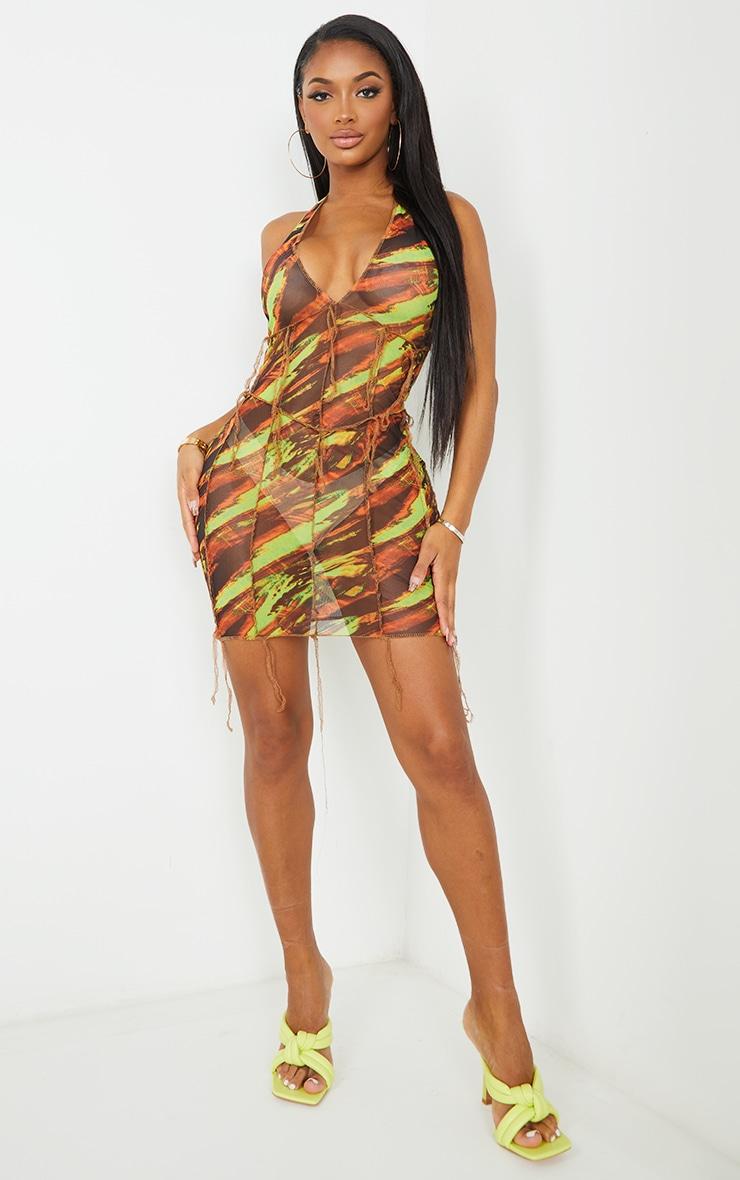 Shape Green Marble Print Sheer Mesh Halterneck Seam Detail Bodycon Dress 1