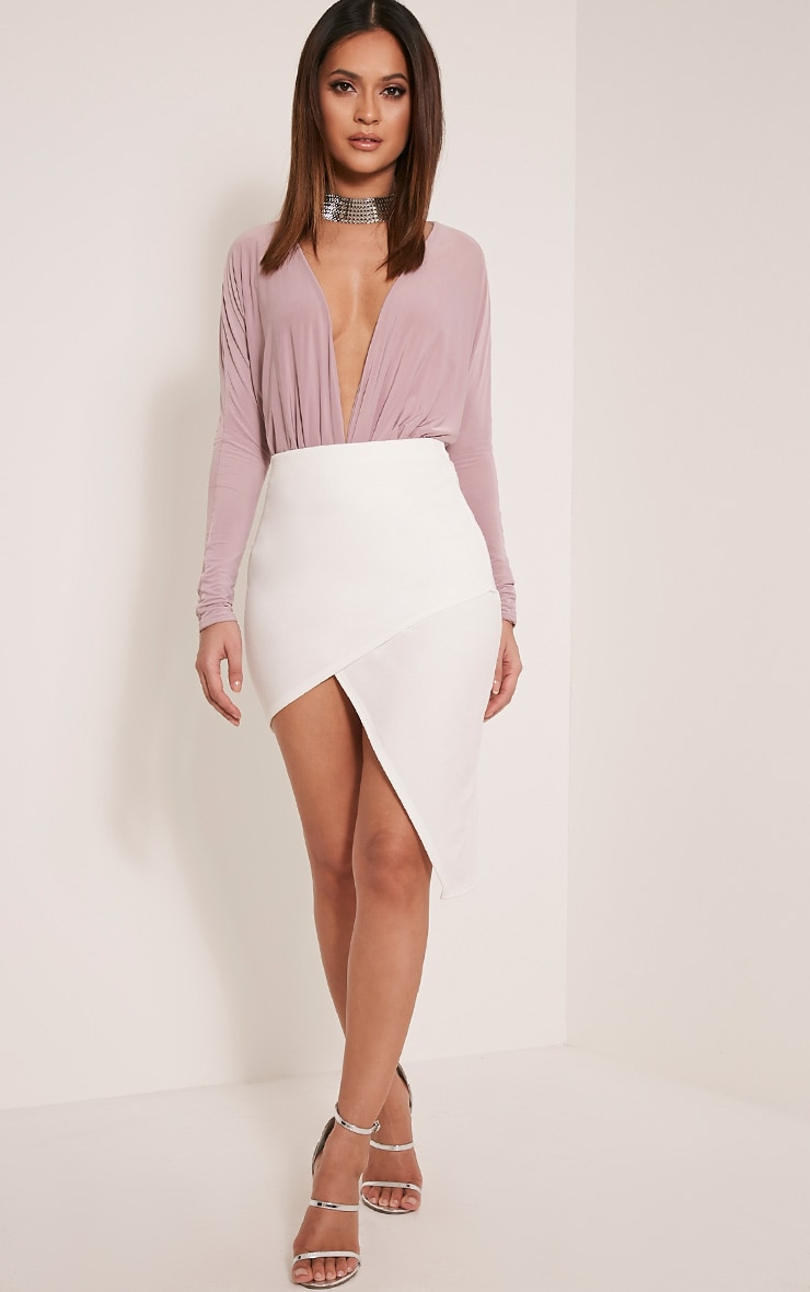 Chloe Cream Asymmetric Wrap Midi Skirt 1