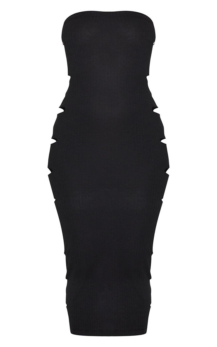Robe bandeau moulante noire très côtelée à découpes latérales et coutures  4