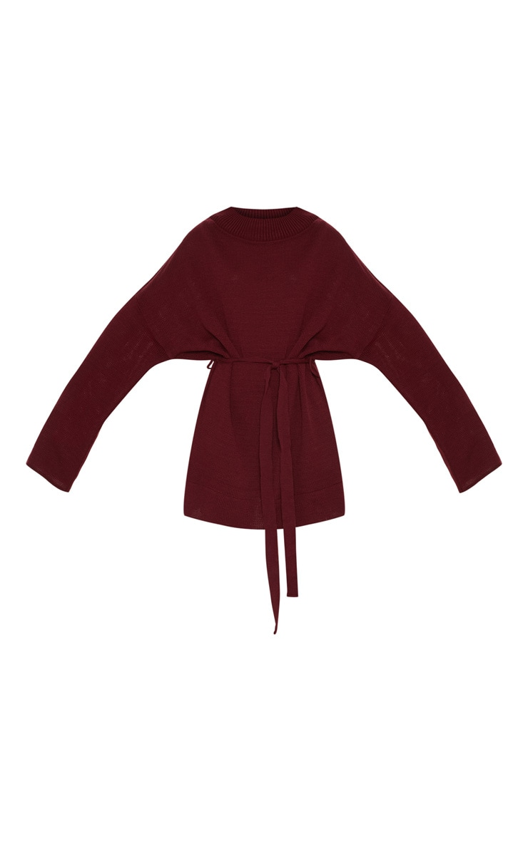 Burgundy Oversized Knitted Belted Dress  3