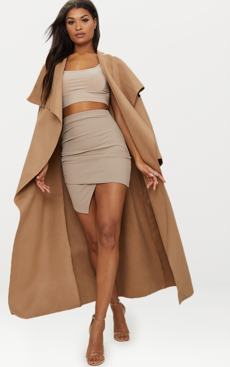Taupe Ruched Wrap Mini Skirt 6