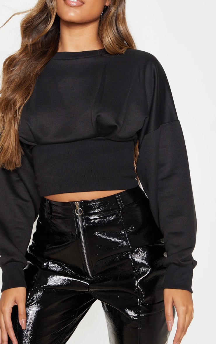 Black Rib Extreme Hem Crop Sweater 5