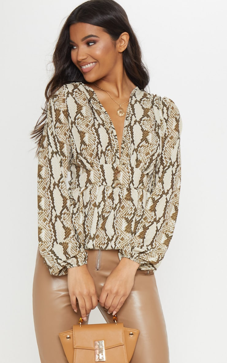 Cream Snake Button Down Blouse 1