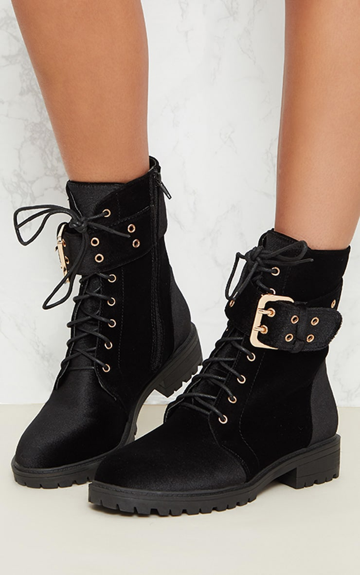 Black Buckle Side Biker Boot 1