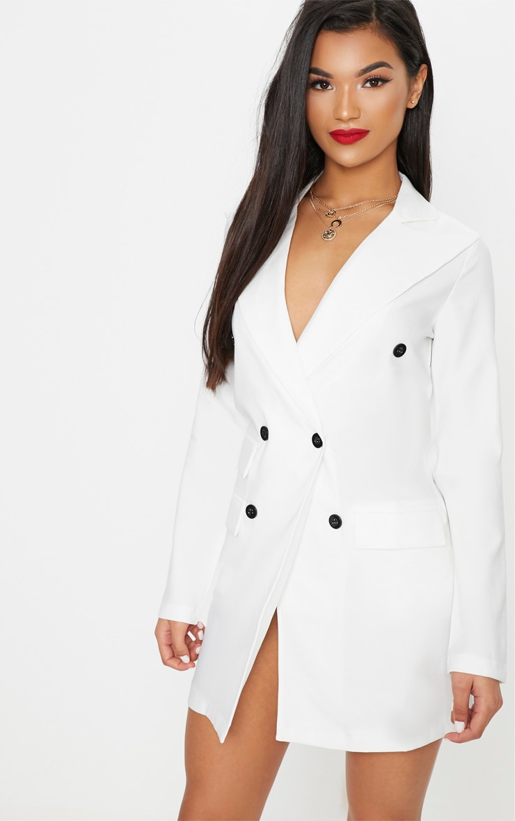 White Pocket Detail Blazer Dress 4
