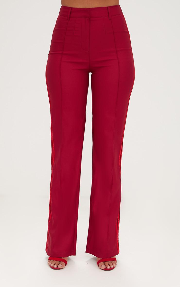 Burgundy Track Stripe High Waisted Straight Leg Trousers 2