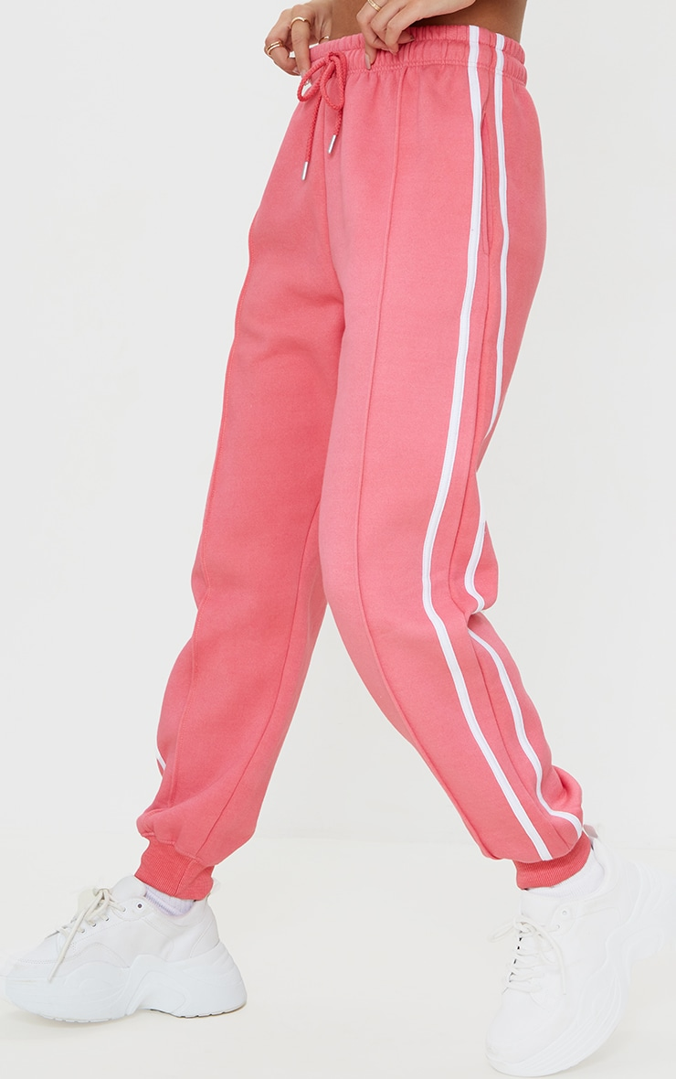 Candy Pink Double Side Stripe Joggers 2