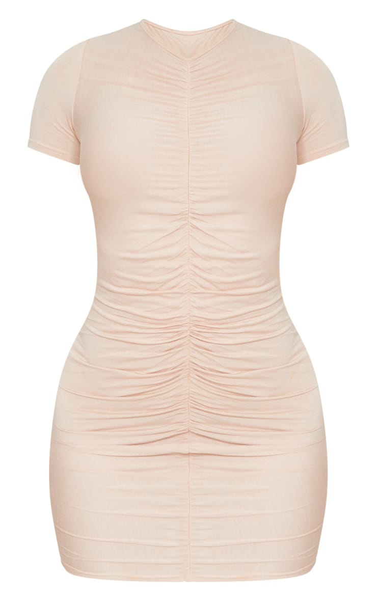 Blush Ruched Front T Shirt Dress 5