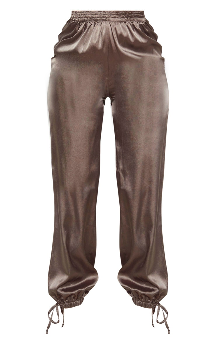 Khaki Satin Ankle Tie Jogger 3