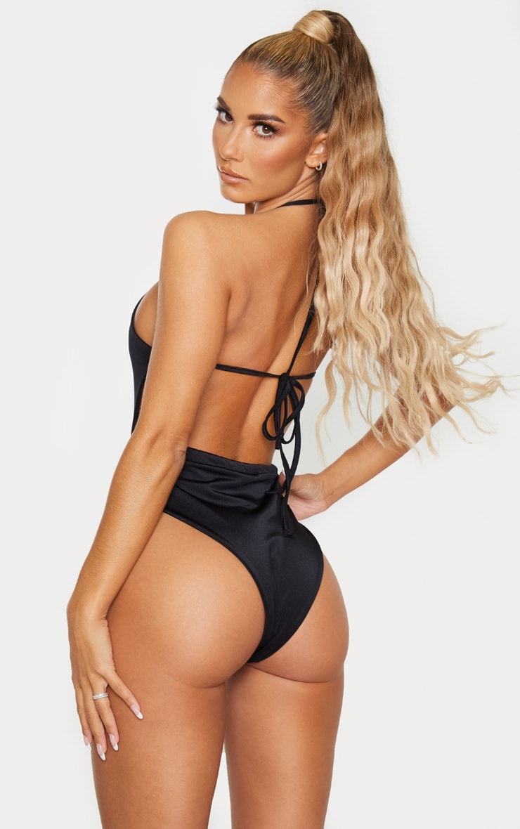 Black Plunge Strappy Cut Out Swimsuit 2