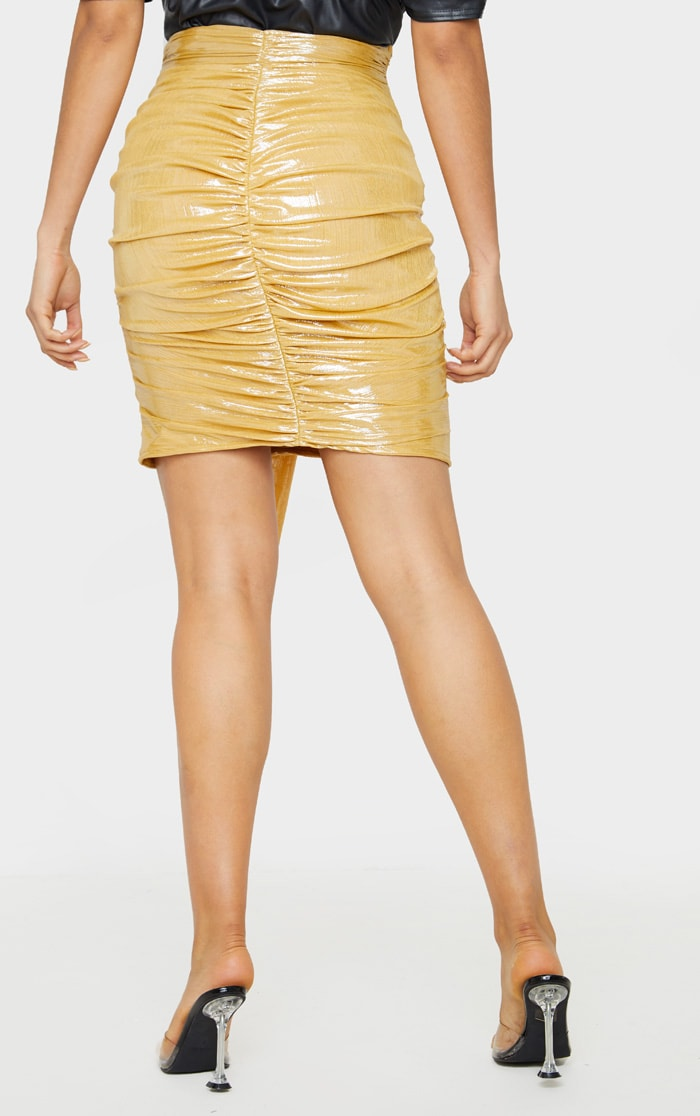 Tall Gold Metallic Drape Detail Ruched Mini Skirt 4