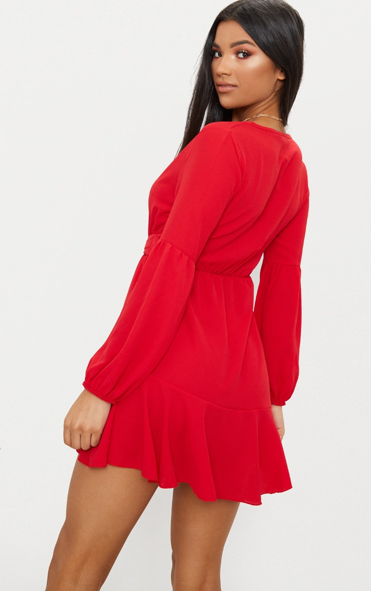 Red Polka Dot Fluted Sleeve Tie Detail Tea Dress Pretty Little Thing nnrgVBuW