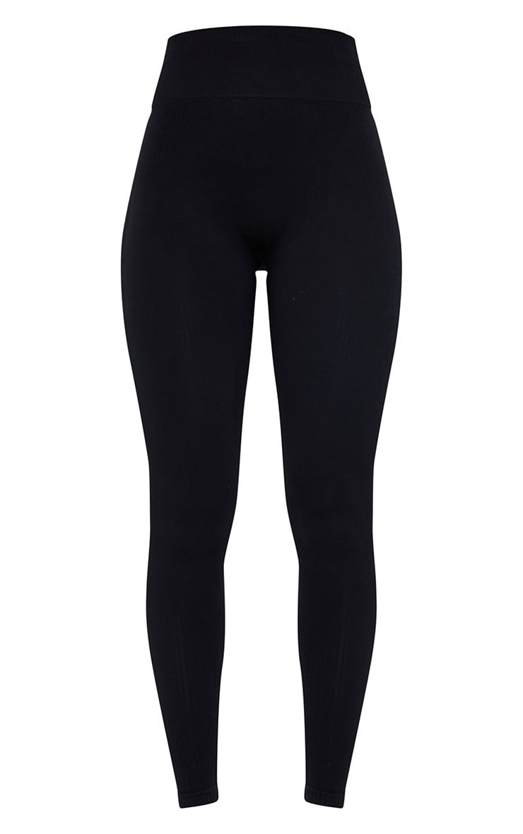 PRETTYLITTLETHING Black Textured Rib Seamless High Waist Gym Legging 5
