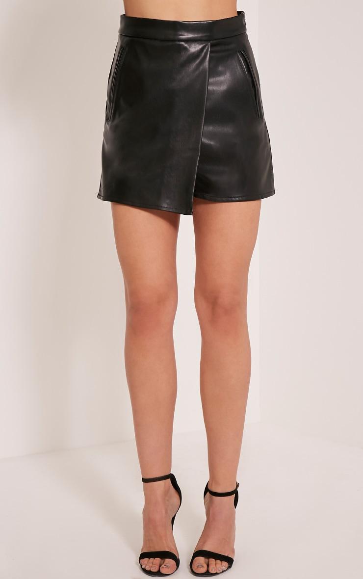 Chlo Black Faux Leather Skort 2