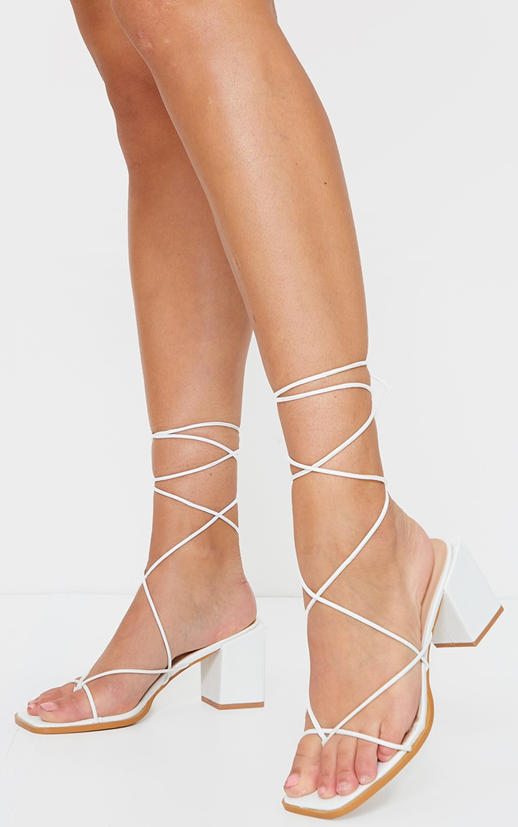 White Square Toe Block Heel Strappy Toe Thong Sandals image 2