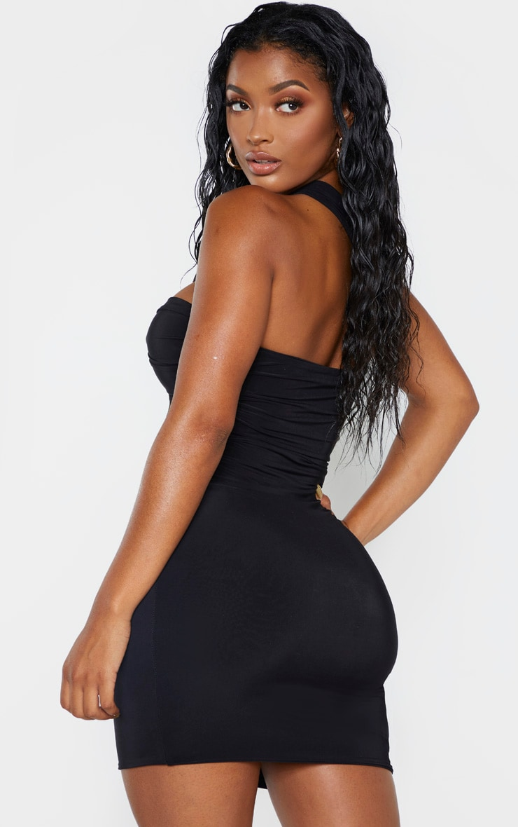 Shape Black Slinky One Shoulder Wrap Mini Dress 2