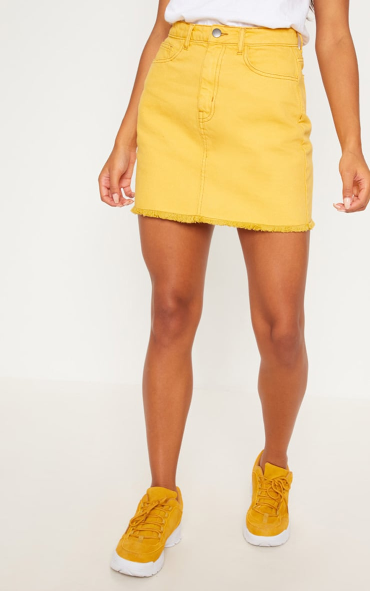 Yellow Distressed Denim Mini Skirt 2