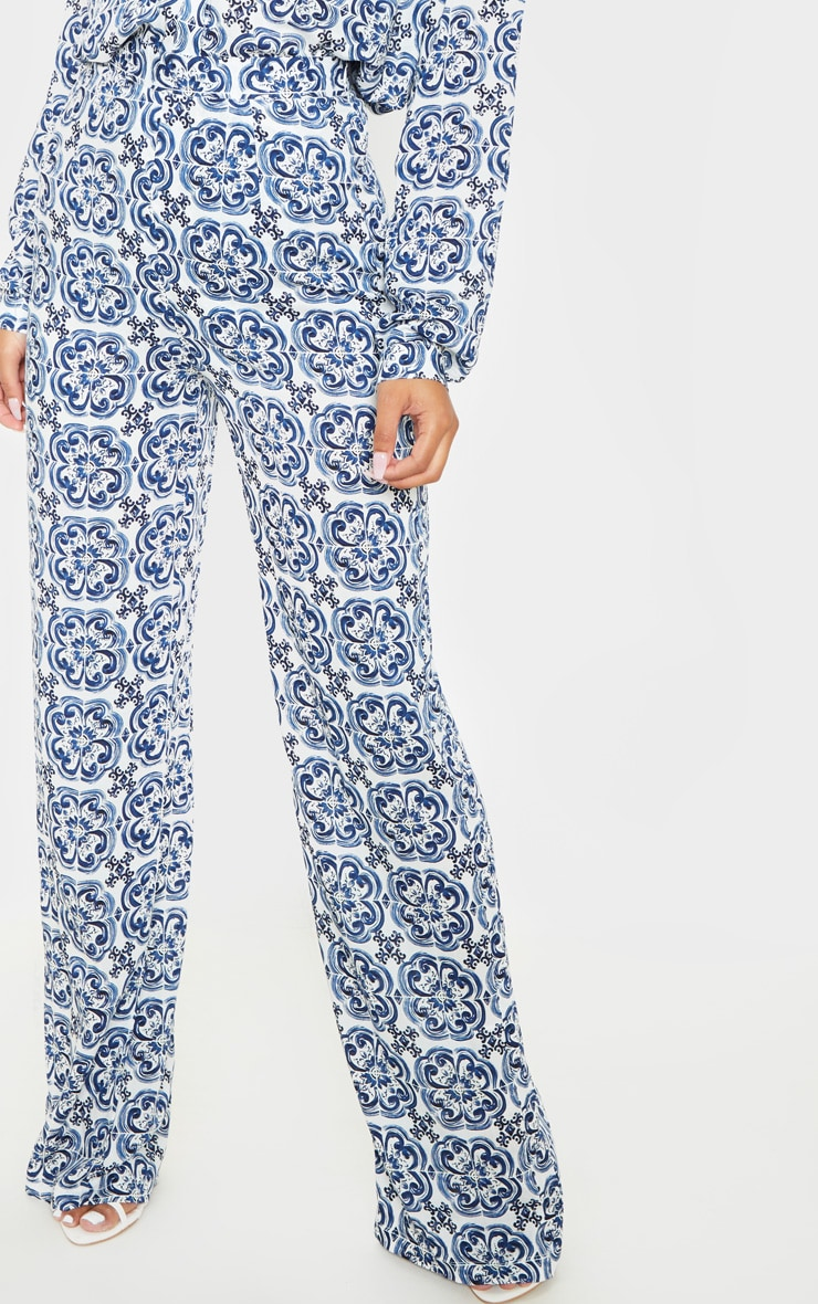White Wide Leg Trouser Floral Pants 2